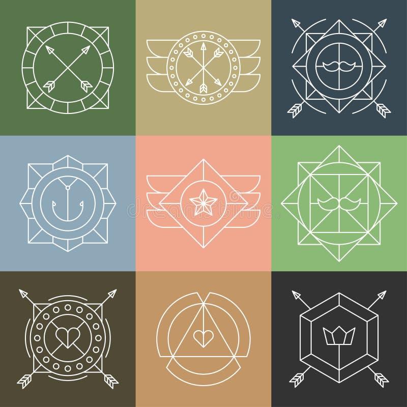 Grupo de emblemas e de crachás do moderno ilustração do vetor