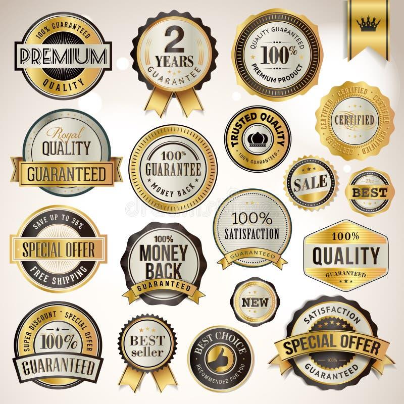 Grupo de emblemas e de etiquetas luxuosos ilustração do vetor