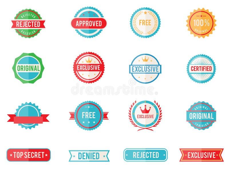 Grupo de emblemas e de selos coloridos ilustração stock