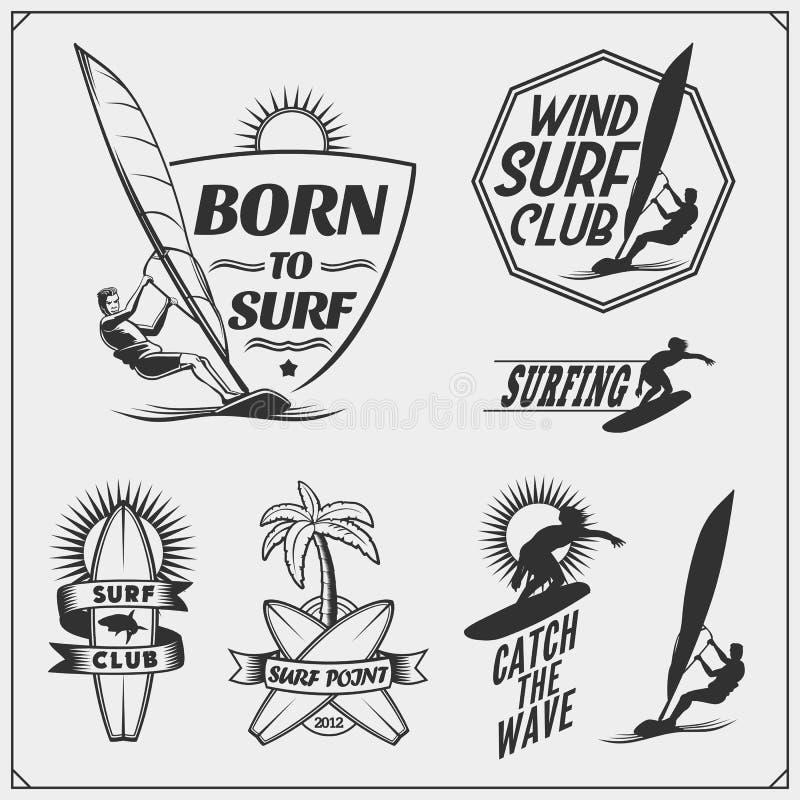 Grupo de emblemas, de etiquetas e de crachás do windsurfe Elementos do projeto da ressaca ilustração do vetor