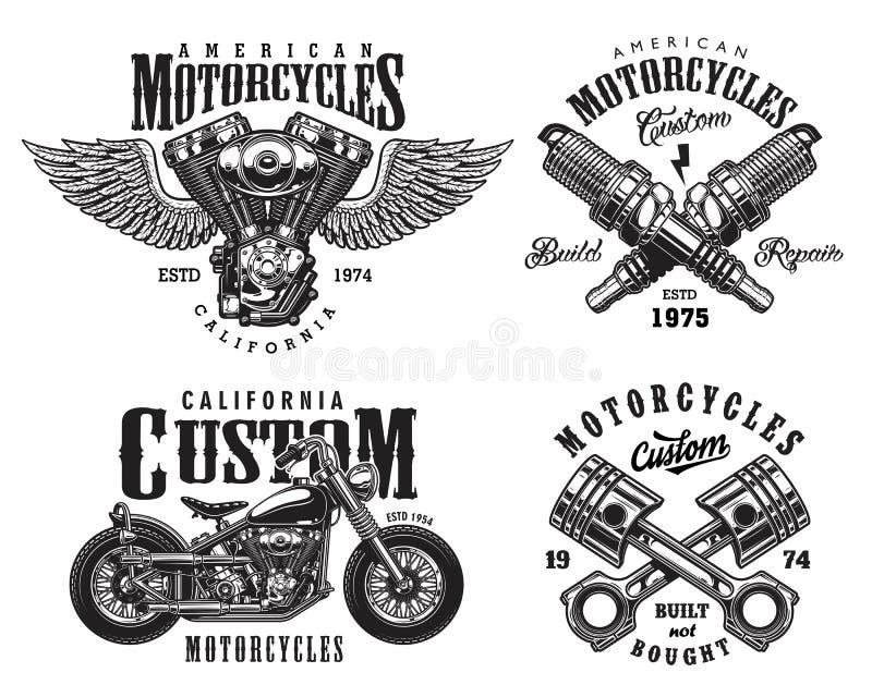Grupo de emblemas feitos sob encomenda da motocicleta ilustração stock