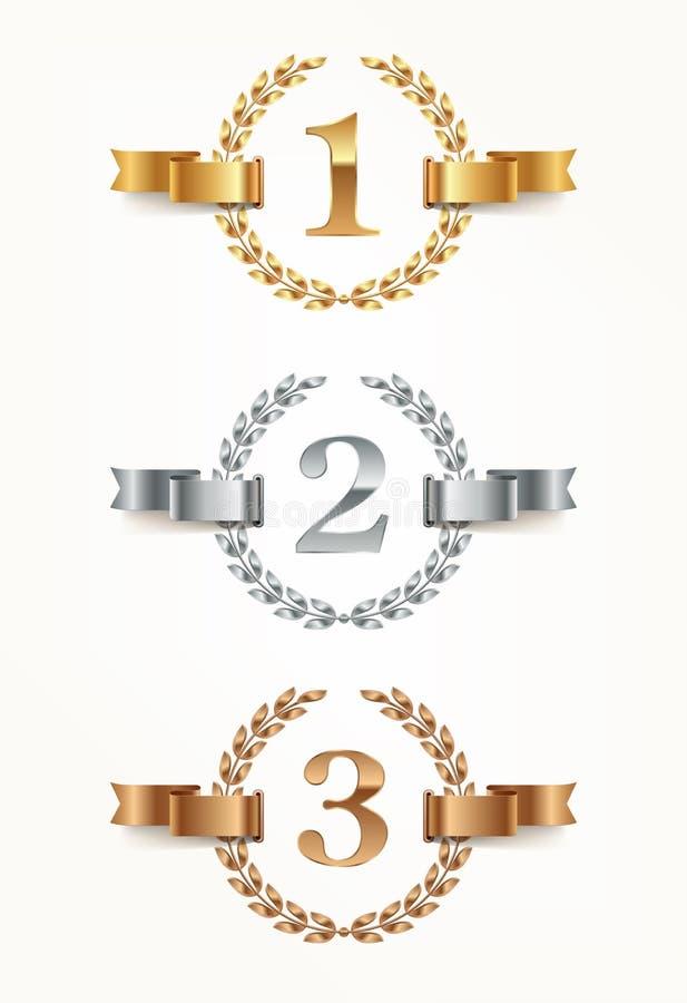 Grupo de emblemas florescentes - ouro, prata, bronze Primeiro lugar, segundo lugar e terceiros sinais do lugar com grinalda e fit ilustração royalty free