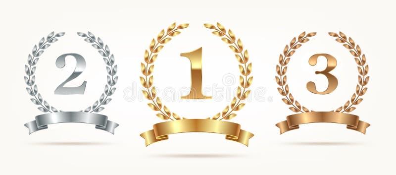 Grupo de emblemas florescentes - ouro, prata, bronze Primeiro lugar, segundo lugar e terceiros sinais do lugar com grinalda e fit ilustração stock