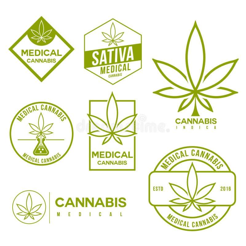 Grupo de emblemas médicos do cannabis da marijuana ilustração royalty free