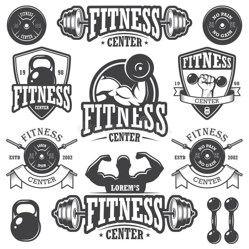 Grupo de emblemas monocromáticos dos fitnes ilustração royalty free