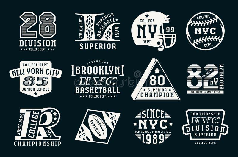 Grupo de emblemas no estilo do esporte ilustração royalty free