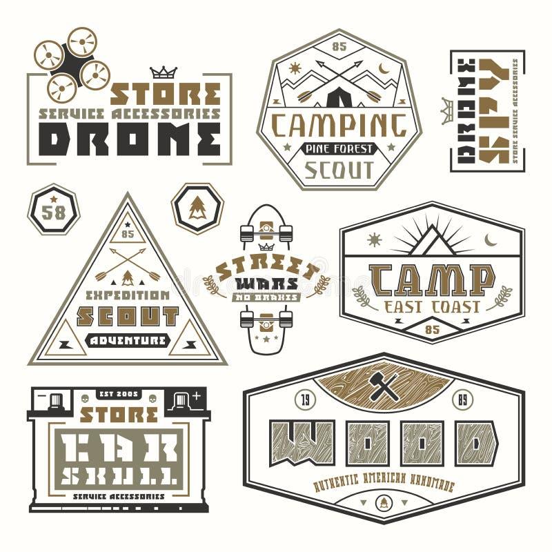 Grupo de emblemas para o t-shirt ilustração royalty free
