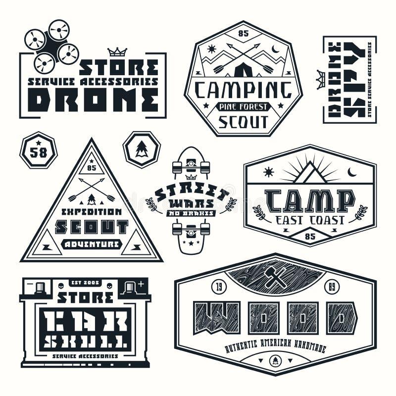 Grupo de emblemas para o t-shirt ilustração stock