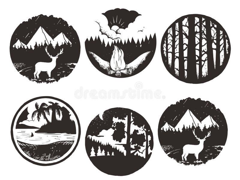 Grupo de emblemas pretos tirados mão da região selvagem artes finalas para o desgaste do moderno ilustração inspirada do vetor ilustração stock
