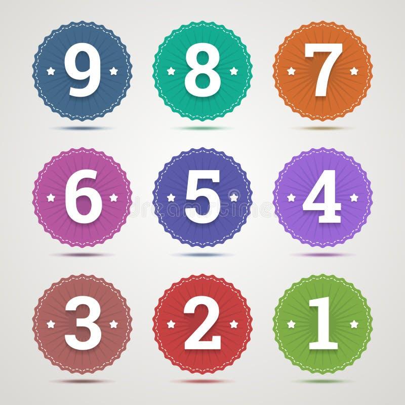 Grupo de emblemas redondos com números ilustração royalty free
