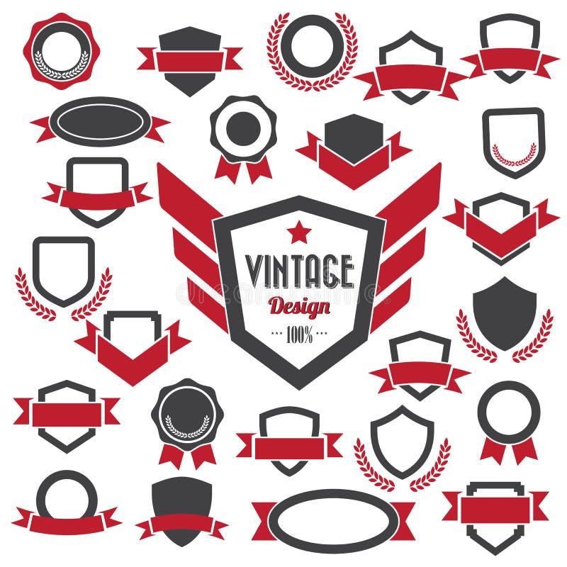 Grupo de emblemas retros e de etiquetas do vintage. ilustração royalty free