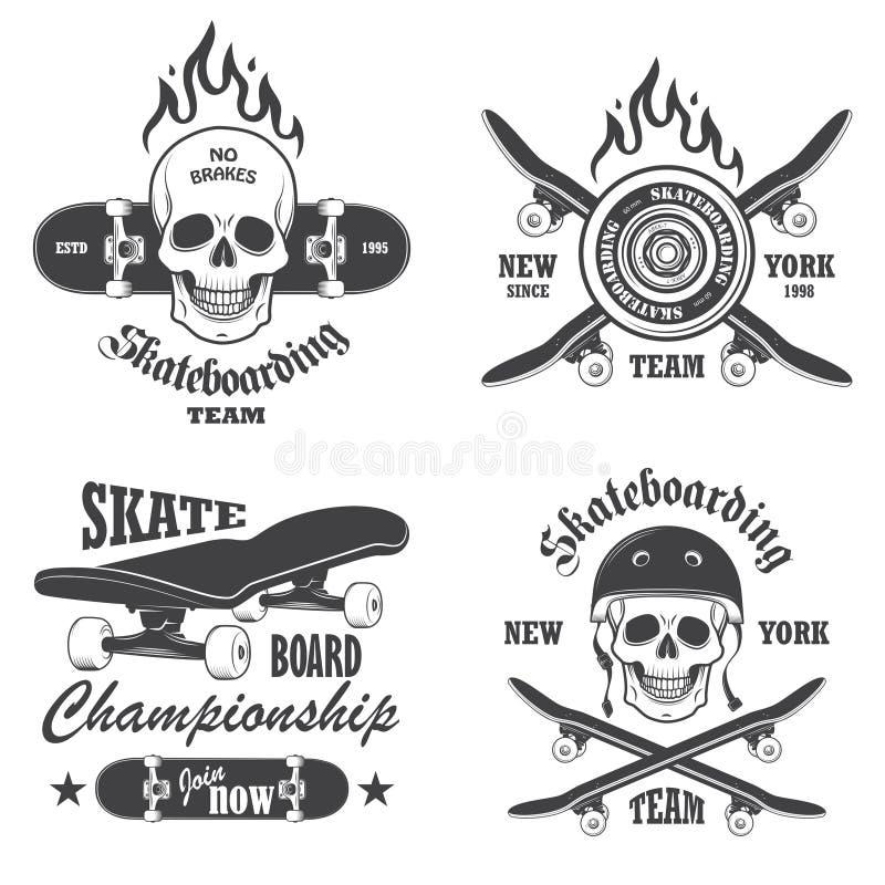 Grupo de emblemas skateboarding ilustração royalty free