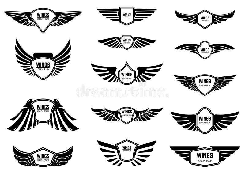 Grupo de emblemas vazios com asas Projete elementos para o emblema, sinal, logotipo, etiqueta ilustração stock