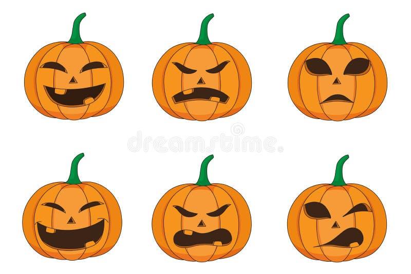 Grupo de emoção da abóbora para o Dia das Bruxas ilustração stock