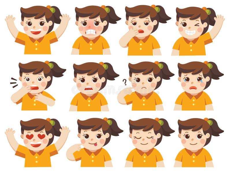 Grupo de emoções adoráveis do facial da menina ilustração royalty free