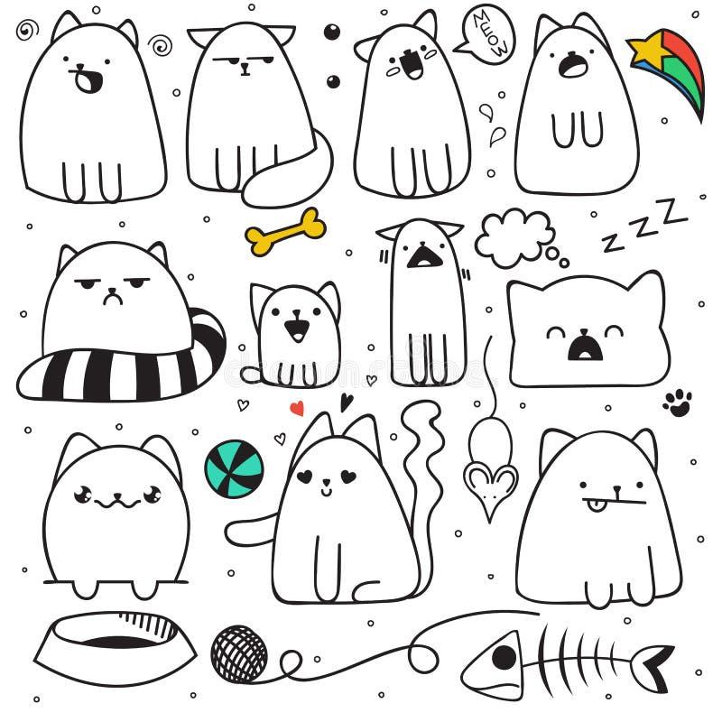 Grupo de 11 emoções diferentes dos gatos da garatuja da etiqueta Gato feito a mão ilustração stock