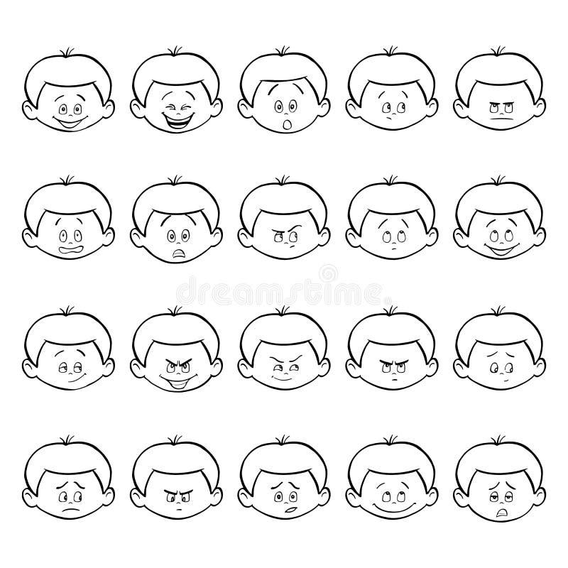 Grupo de emoções do facial da criança Cara do menino do esboço com expressões diferentes ilustração do vetor