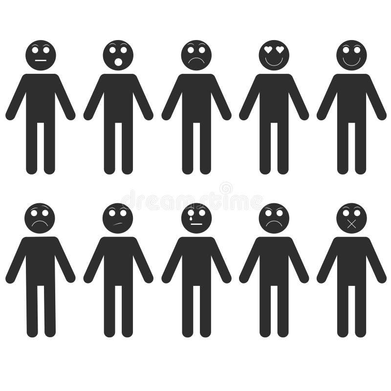 Grupo de emoções do homem da vara ilustração stock