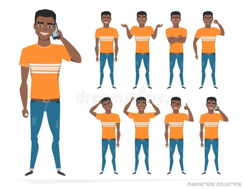 Grupo de emoções e de gestos ao homem novo do americano do africano negro ilustração do vetor