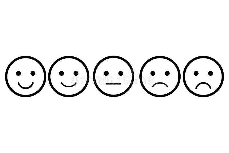 Grupo de Emoji Ícone do vetor dos emoticons Faces diferentes Avaliação para a Web ou o app imagens de stock