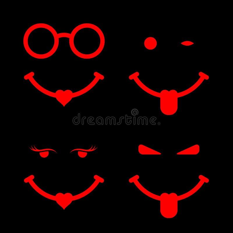 Grupo de Emoji com colagem para fora da língua e do coração Louco no amor, smiley amolado, grupo de elementos do projeto do vetor ilustração do vetor