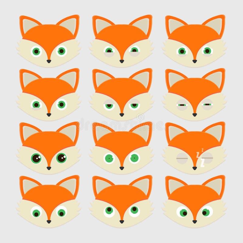 Grupo de emoticons bonitos da raposa ilustração do vetor