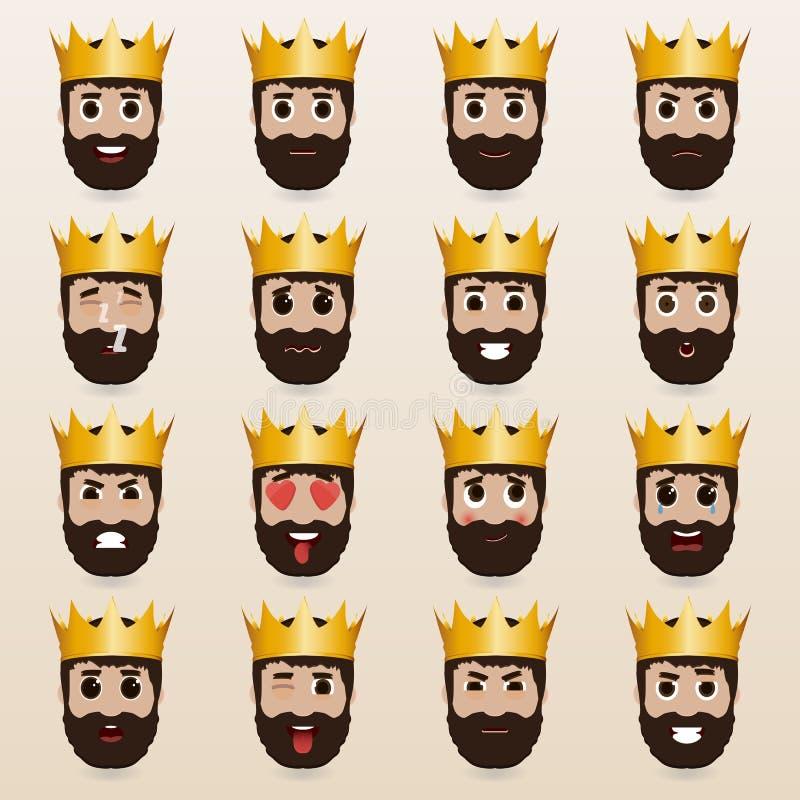 Grupo de emoticons bonitos do rei ilustração stock