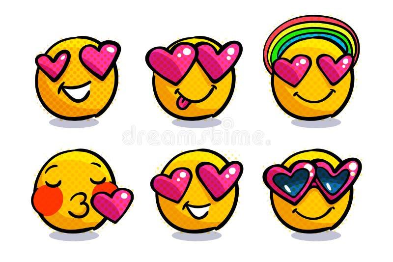 Grupo de emoticons bonitos do Valentim no amor ilustração do vetor