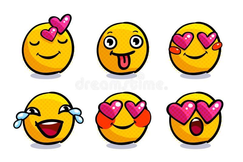 Grupo de emoticons bonitos do Valentim no amor ilustração stock