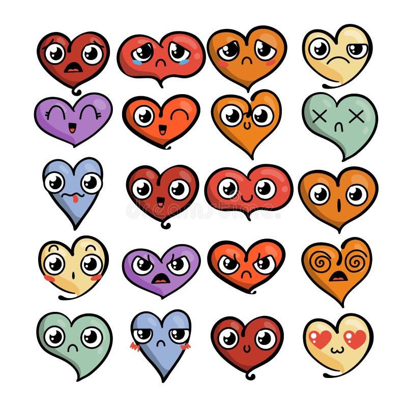 Grupo de emoticons bonitos bonitos Rabiscar o estilo da cara do kawaii, o doce e o infantil do manga dos desenhos animados ilustração royalty free