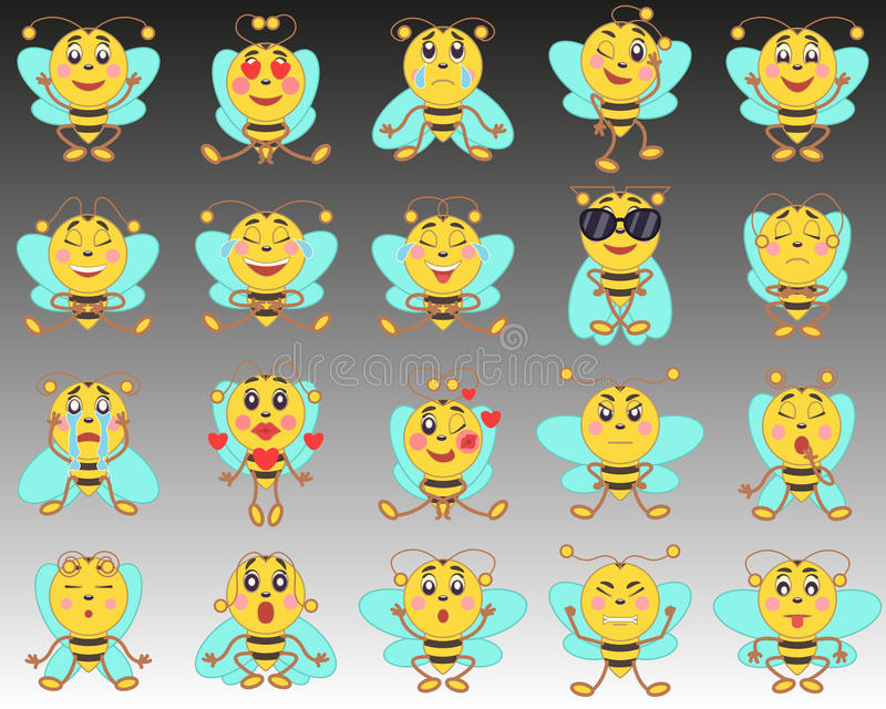 Grupo de emoticons do emoji em um estilo liso Um grupo de abelhas isoladas dos desenhos animados em um fundo de preto ao branco foto de stock royalty free