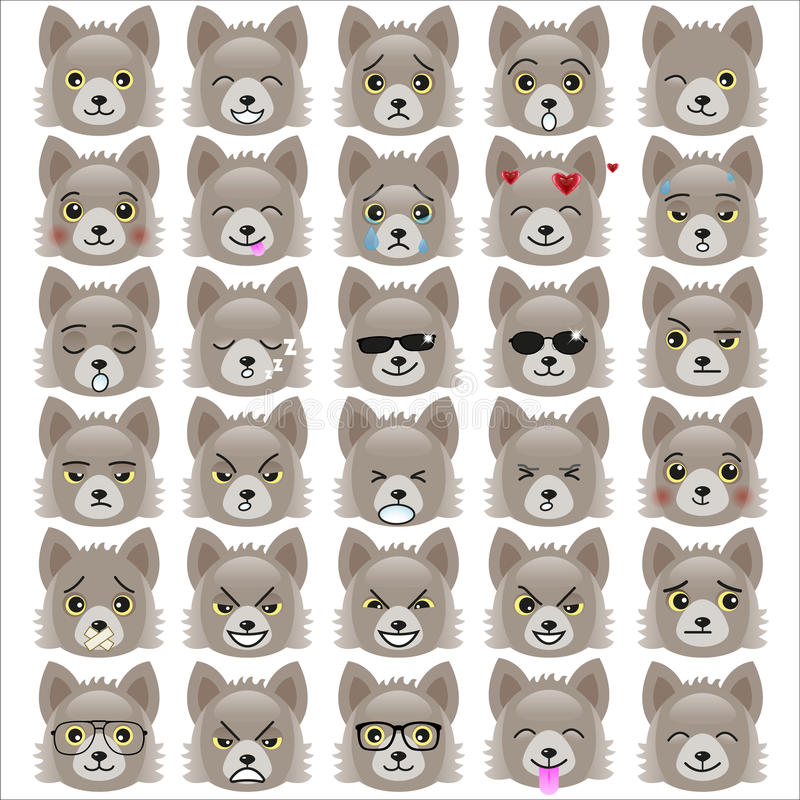 Grupo de emoticons engraçados do filhote de cachorro ilustração do vetor