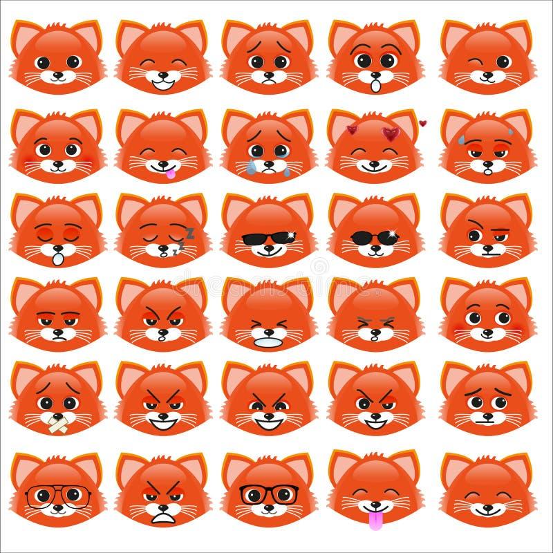 Grupo de emoticons engraçados do gatinho ilustração stock