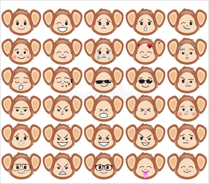 Grupo de emoticons engraçados do macaco ilustração royalty free