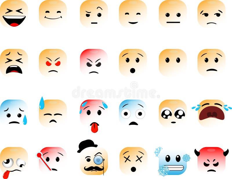 Grupo de emoticons quadrados ilustração do vetor