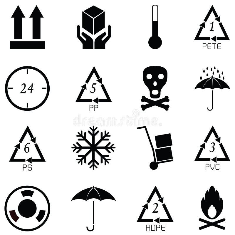 Grupo de empacotamento do ícone dos símbolos ilustração do vetor