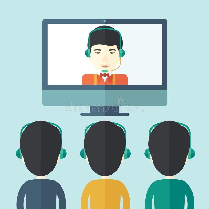 Grupo de empregados com os indivíduos chineses dentro em linha ilustração royalty free