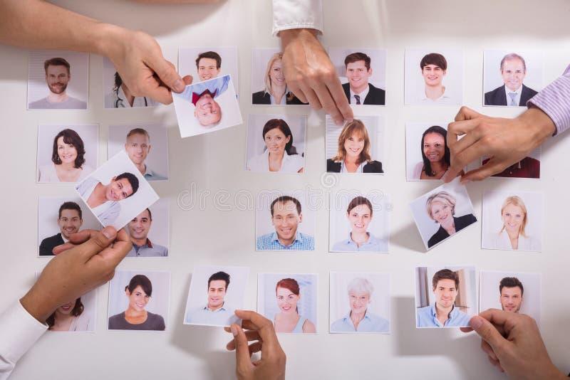 Grupo de empresarios que seleccionan la foto del candidato fotografía de archivo libre de regalías