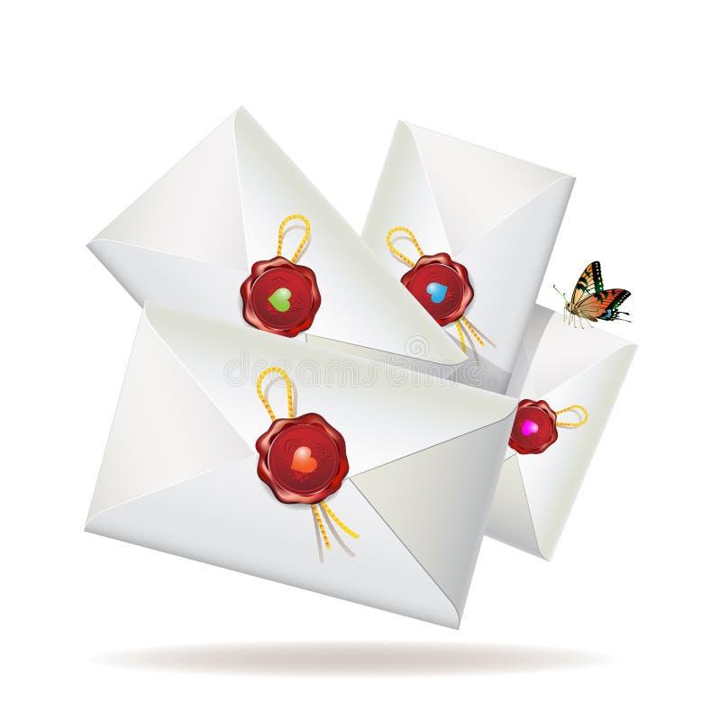 Grupo de envelopes ilustração stock