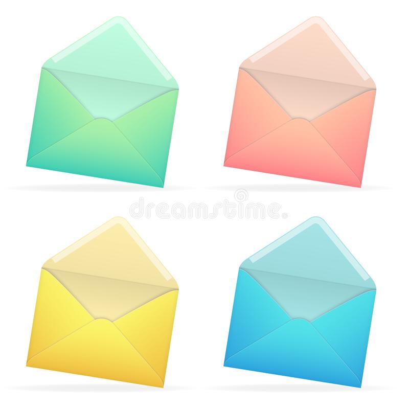 Grupo de envelopes azuis, cor-de-rosa, verdes, amarelos de papel abertos ilustração stock