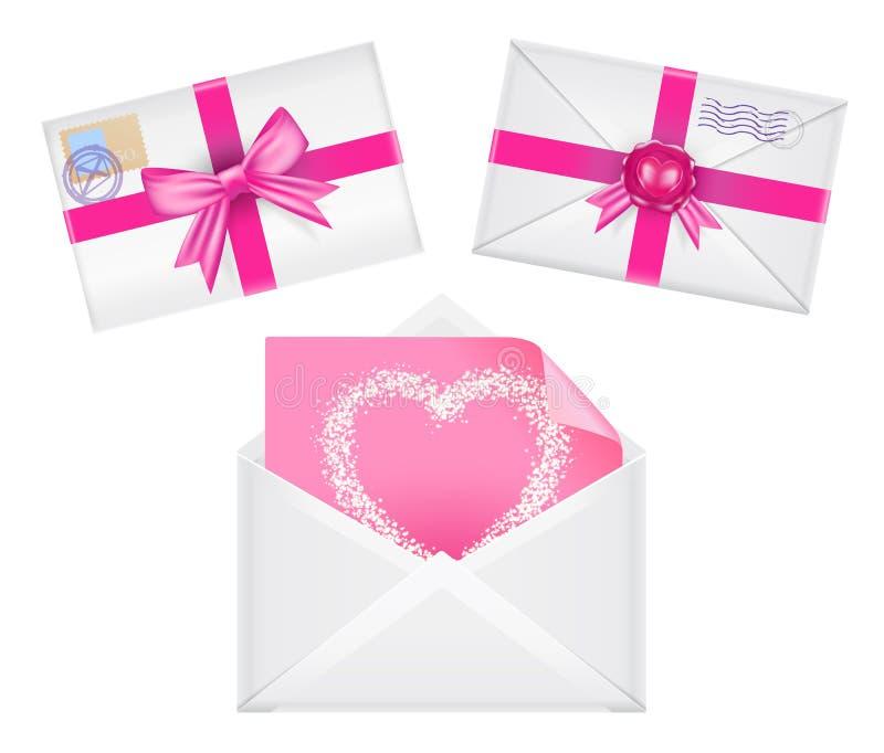 Grupo de envelopes com fitas, selo, coração nele, cumprimento cor-de-rosa ilustração do vetor