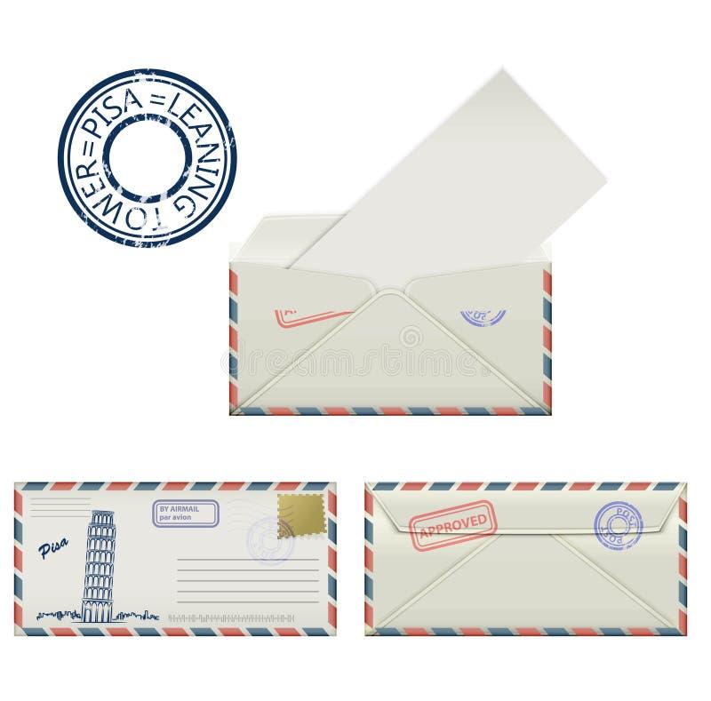 Grupo de envelopes de Pisa com pintado a torre inclinada e o carimbo postal stylization ilustração royalty free