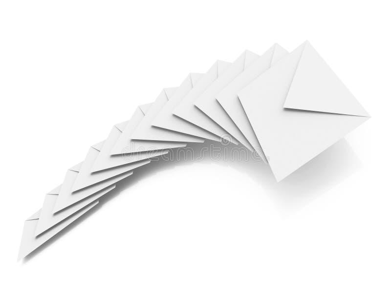 Grupo de envelopes desobstruídos no fundo branco ilustração royalty free