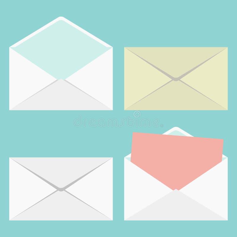Grupo de envelopes fechados e abertos ilustração royalty free