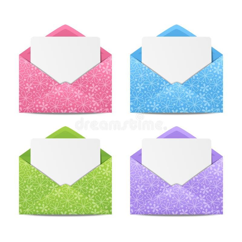 Grupo de envelopes florais ilustração royalty free