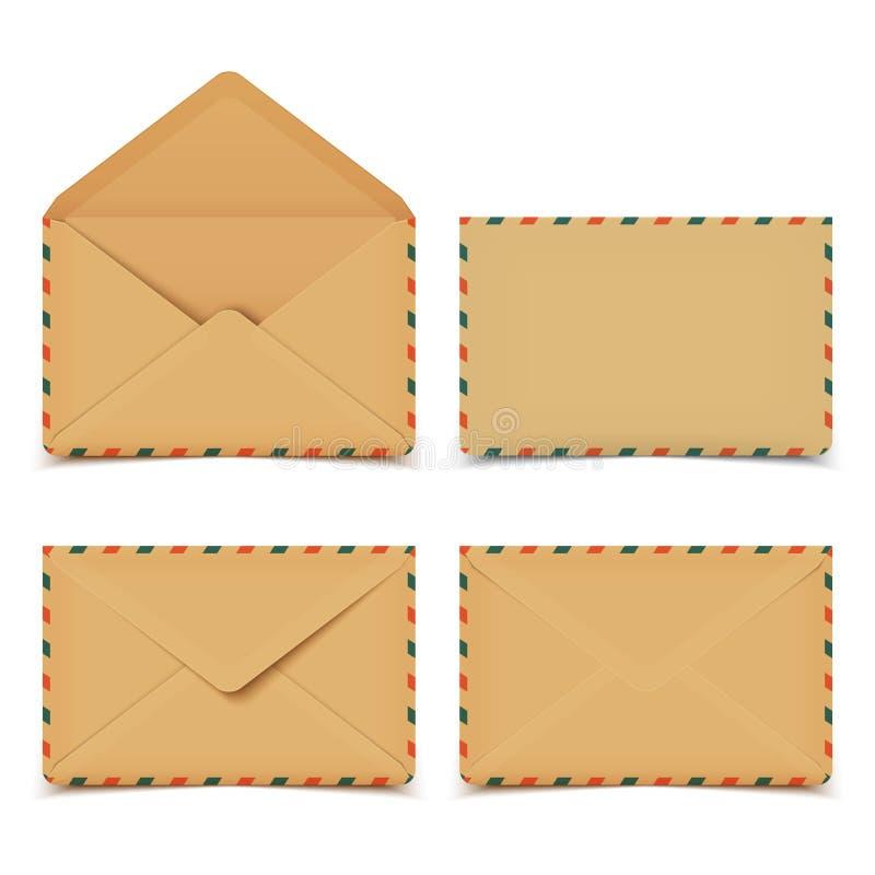 Grupo de envelopes retros velhos vazios do vetor no branco ilustração do vetor