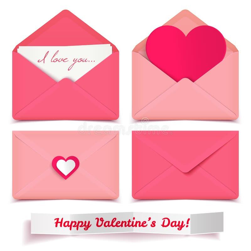 Grupo de envelopes românticos do vetor do Valentim cor-de-rosa isolados no branco ilustração do vetor