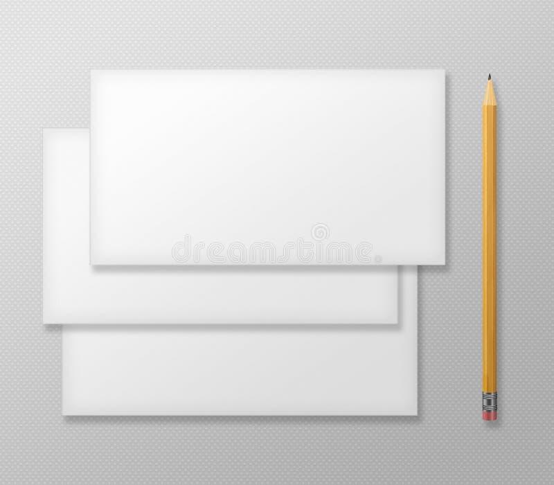 Grupo de envelopes vazios com o lápis amarelo em Gray Background ilustração do vetor