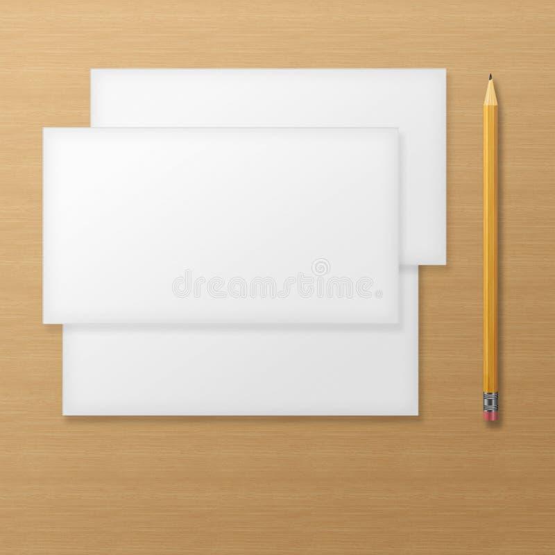 Grupo de envelopes vazios com o lápis amarelo no fundo de madeira ilustração do vetor
