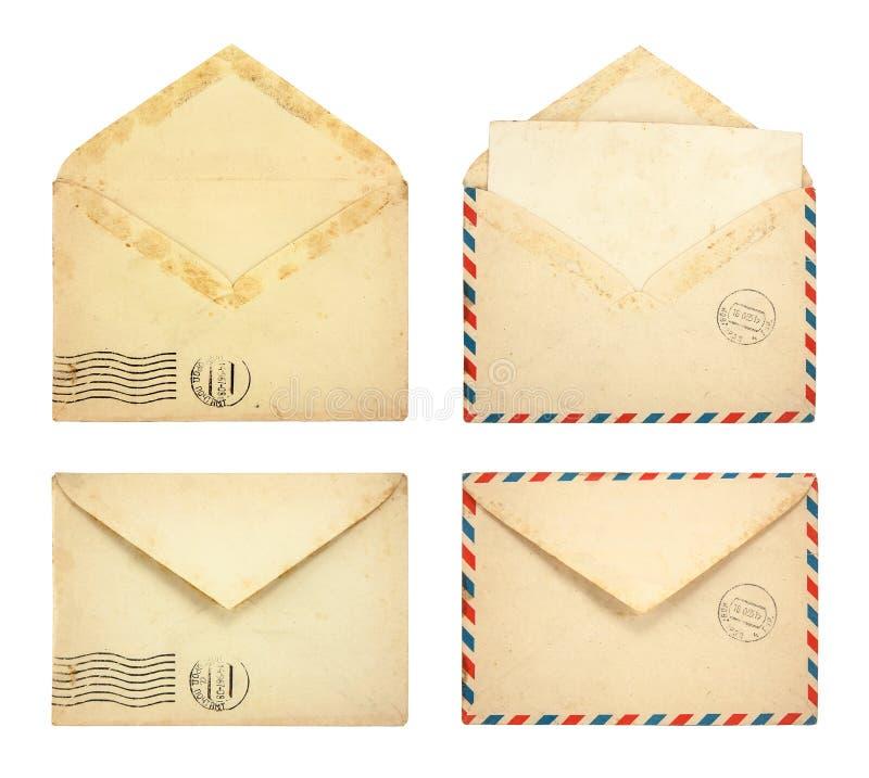 Grupo de envelopes velhos fotos de stock royalty free